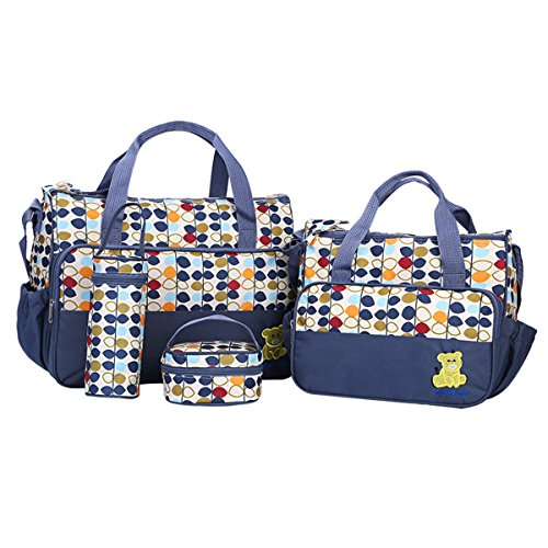 BigForest 5pcs/set Multifunction Large Capacity Baby Diaper Bag Nappy Changing Pad Travel Mummy Bag Tote Handbag Set Blue
