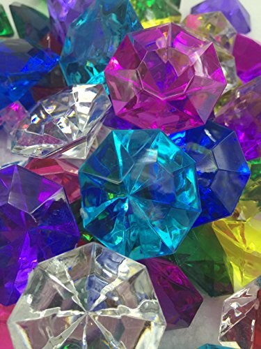 72 Assorted Color Acrylic Large Diamond Gems (32mm x 24mm) By Sunrise Crystal (Big Gems)