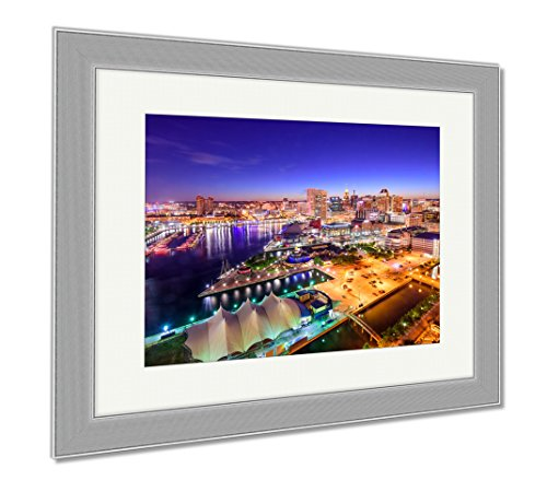 Ashley Framed Prints Baltimore Maryland Inner Harbor Skyline, Wall Art Home Decoration, Color, 30x35 (frame size), Silver Frame, - Harbor Baltimore In Inner Shops