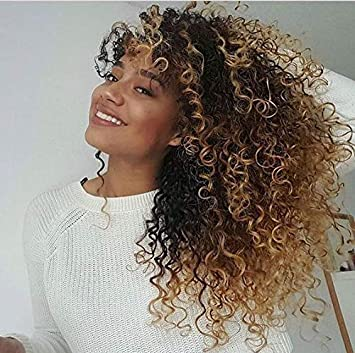 Easyouth Brazilian Clip In Hair Extensions Kinky Curly 12 1b Off Black Highlights With 27 Honey