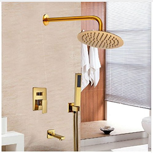 Gowe Widespread Wall Mounted Bathroom Shower Set Golden Finish Shower Faucet Single Lever 12-in Rainfall Head