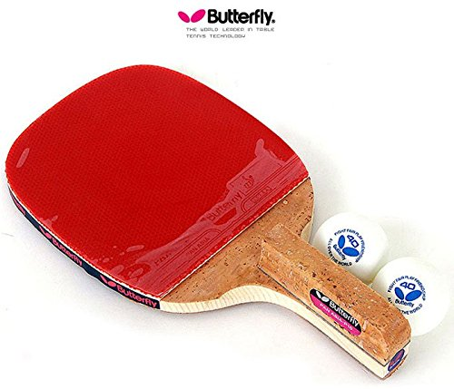 Butterfly PAN ASIA P10 Table Tennis Racket Penholder Paddle Racket & Ball 2 (pcs) by Butterfly Pan Asia S10