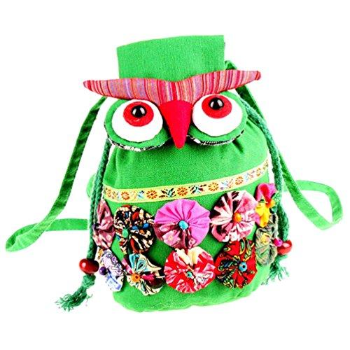 Femmes Cartoon Mode De Retro Style Sacs Bag Mignon De Toile Owl Binhee Messenger Ethnique Vert wXvzA5A