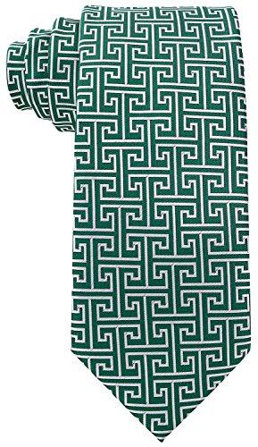 Geometric Greek Key Ties for Men - Woven Necktie - Green w/Silver