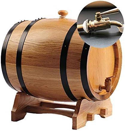 GPWDSN Dispensador de barril de vino de madera de roble vintage, para botellas de cerveza de barril de whisky (A, 5 L)