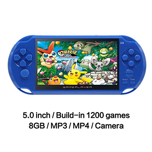 JXD 5 inch 8G Handheld Game Console Built-in 1200 No-repeat Games FC/GBA/NES/SF Games LCD Classic Video Game Console 32Bit Portable Gaming with MP4 MP5