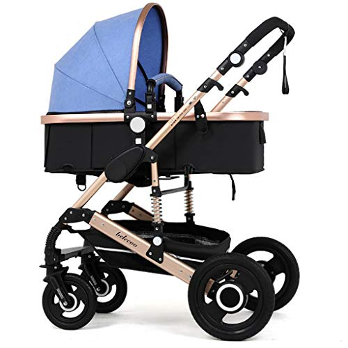 ZLMI Baby Stroller High Landscape Multi-Function Four-Wheel Shock Absorber Trolley Two-Way Adjustable Fast Folding Easy to Fit Suitable for 0-3 Years Old,B