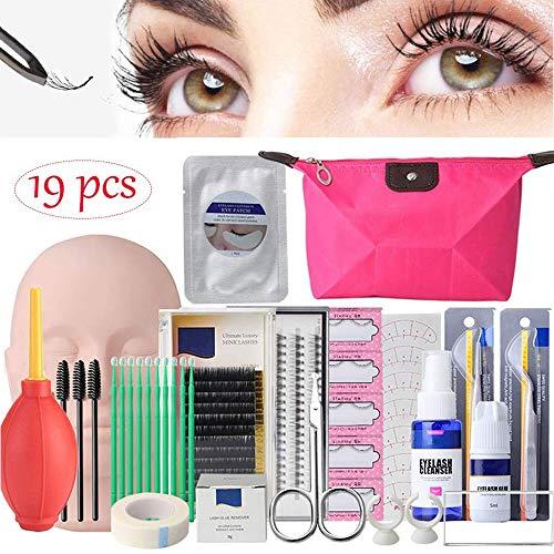 EBANKU 19PCS False Eyelashes Extension Practice Exercise Set, Mannequin Training Makeup False Eyelashes Extension Glue Tool Practice Kit With Bag For Makeup Practice Eye Lashes Graft