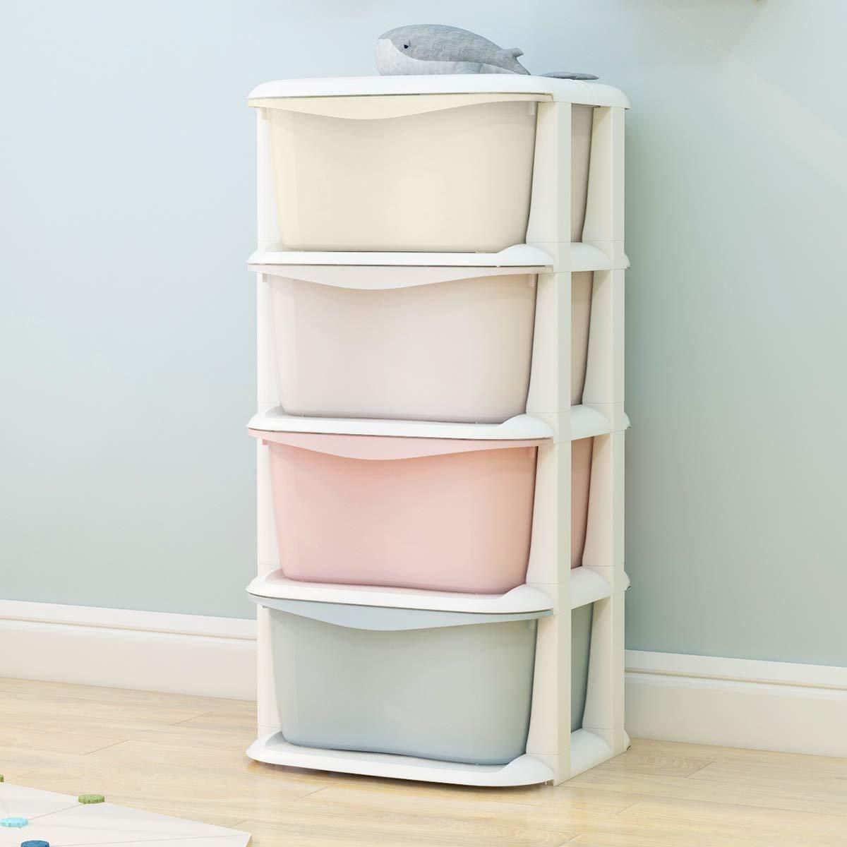 Nafenai Baby Storage Organizer, Cute Multicolor Drawer Storage Cart for Kids Bedroom, 4 Drawers-14.57'' L x 14.96'' W x 31.50'' H