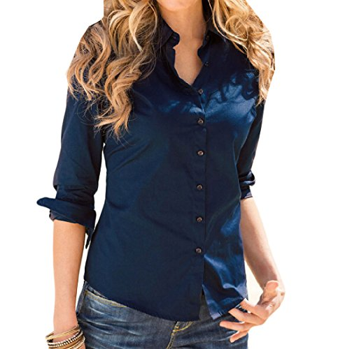 Coolred Shirts Movement Long Navy Fit Women's Slim Sleeve Solid Blue Casual qqFpCrO