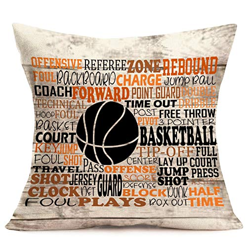 (YANGYULU Throw Pillow Covers Cotton Linen Pillowcase Square Decorative Sport Basketball Theme Throw Pillowcase Cushion Cover for Home Car Office18 x 18 Inch(Basketball0301) )