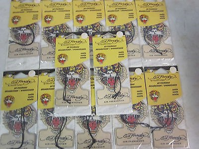 Ed Hardy Air Fresheners - LOT OF ~ 12 ~ PACKS ED HARDY ~ VANILLA ~ HANGING CAR / HOME AIR FRESHENER ~NEW~