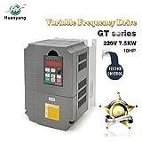 VFD Variable Frequency Drive CNC VFD Motor Drive Inverter Converter 220V 7.5KW 10HP for Spindle Motor Speed Control HUANYANG GT-Series (220V, 7.5KW)