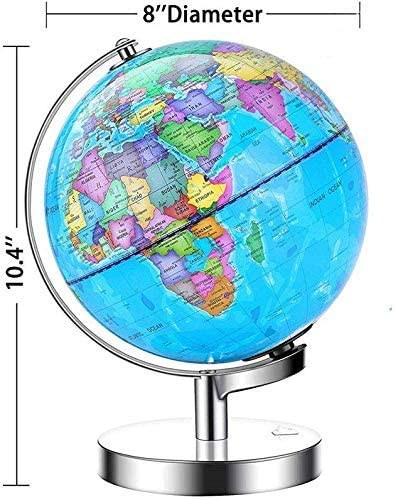 FMOGE 8 Inch Illuminated Globe of The World with Stand-Educational Globe Built in LED Light for Night View Creative Gift
