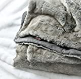 Luxury Faux Fur Throw Blanket Super Soft Oversized Thick Warm Afghan Reversible to Plush Velvet in Tan Grey Wolf, Cream Mink or Blush Chinchilla, Machine Washable 60 by 70 Inch (Taupe Gray)