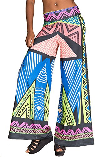 Flying Tomato Women's Geometric Print Wide Leg Palazzo Pants L Lime (Flying Tomato Blouse)