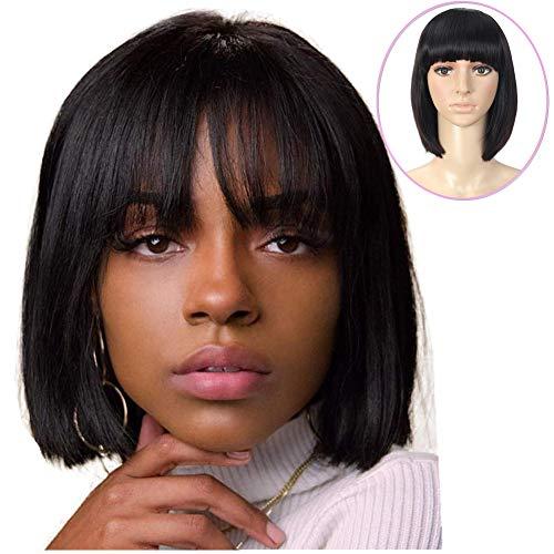 "YAMI Bob Human Hair Wigs with Bangs,Women's Straight Bob Human Hair Wig with Bangs,Christmas Party Short Peruvian Silky Straight Human Hair Glueless Full Wig (10"" Bob Straight Wig,1B#) ..."