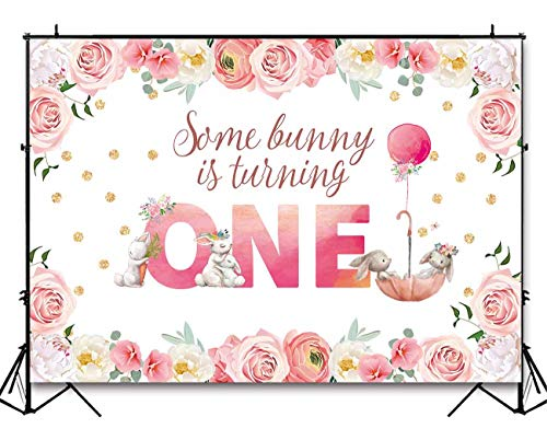 (Funnytree 7X5ft Pink Floral Rabbit First Birthday Backdrop Watercolor Flower Baby Girl Bunny Photo Background Golden Glitter Spring Garden Easter Party Photography Decorations Cake Table)
