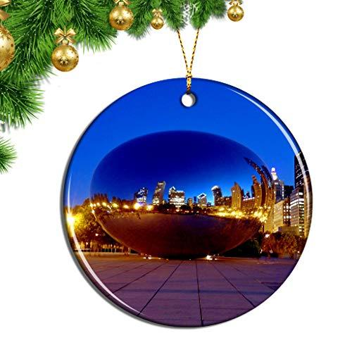 Hqiyaols Ornament USA America Cloud Gate、Millennium Park Chicago Christmas Ornaments Ceramic Sheet Souvenir Travel Gift Collection Tree Door Window Ceiling Pendant Decorative (Park Christmas Chicago Millennium)