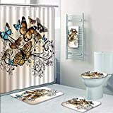 Philip-home 5 Piece Banded Shower Curtain Set Butterfly Monarch Butterflies Vintage and DamaskOmbre Floral Cream Orange and Blue for Hotel Pattern Printing Suit