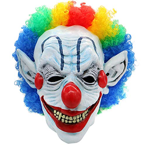 KONKY Clown Mask with Colorful Hair Scary Clown Mask for Kids & Adult Halloween Costume Sinister Circus Mask (Clown Rainbow - Masks Scary Hair Costume