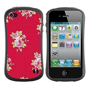 Paccase / Suave TPU GEL Caso Carcasa de Protección Funda para - rose pattern pink lilac purple red - Apple Iphone 4 / 4S