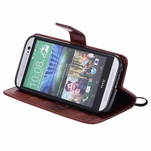 Yiizy HTC One (M8) Funda, árbol De Dibujo Diseño Solapa Flip Billetera Carcasa Tapa Estuches Premium PU Cuero Cover Cáscara Bumper Protector Slim Piel Shell Case Stand Ranura para Tarjetas Estilo (Caf