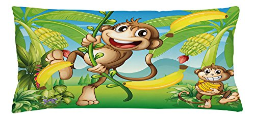 Nursery Throw Pillow Cushion Cover by Ambesonne, Two Monkeys Near the Banana Plant Tropical Nature Landscape Vine Funny Animals Apes, Decorative Square Accent Pillow Case, 36 X 16 Inches, Multicolor