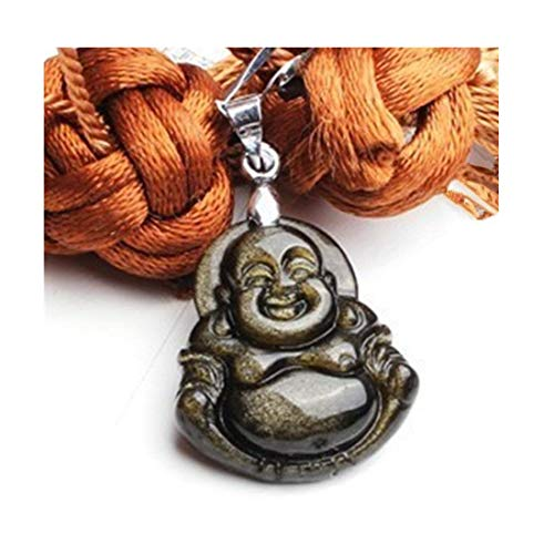 Betterdecor Feng Shui Golden Obsidian Money Buddha Necklace for Good Luck (with a Pouch)