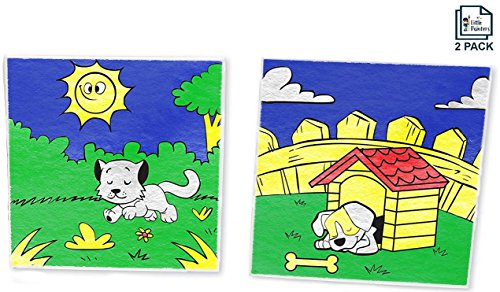 "Paint By Number Kit For Kids, Animal Pack - Dog And Cat, Paint With Numbers, DIY, Paint By Numbers For Kids, (2 pack) 10"" X 10"" Wood Framed Canvas With Pre Printed Designs by Little Painters"
