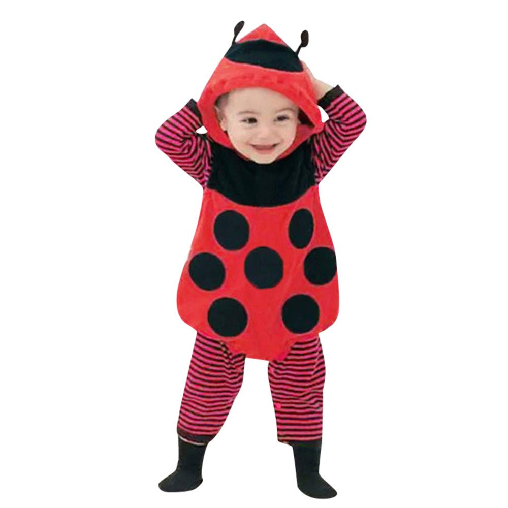 H.eternal Bodysuit Set, Toddler Baby Girls Vest Ladybird Jumpsut +Striped Long Sleeve Romper+ Cap, 3pcs Outfits Sets Fancy Dress up Clothes