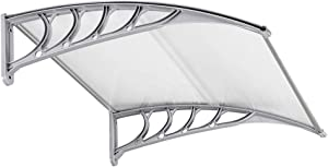 """FCH Window Awning Door Canopy, 40"""" x 40"""" Window Awning Overhead Door Modern Polycarbonate Cover Outdoor Front Door Patio Canopy UV Rain Snow Sunlight Protection Hollow Sheet/Silver & Gray"""