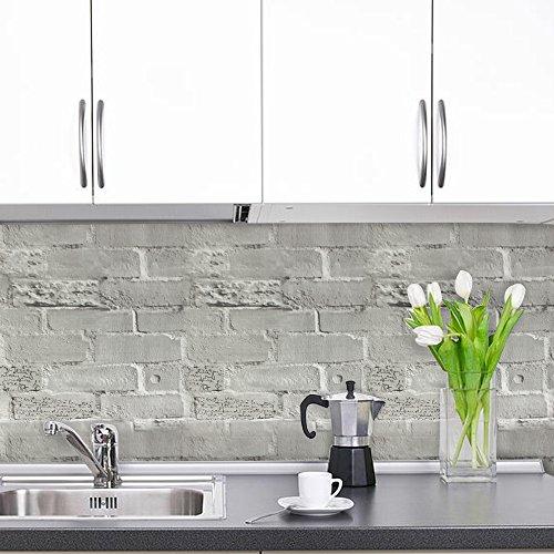 Minimalist Stick Peel Faux Brick Grey Brick Pattern Waterproof Self-Adhesive3D Vinyl Home Kitchen Bathroom Decoration Décor Removable Viny Wallpaper