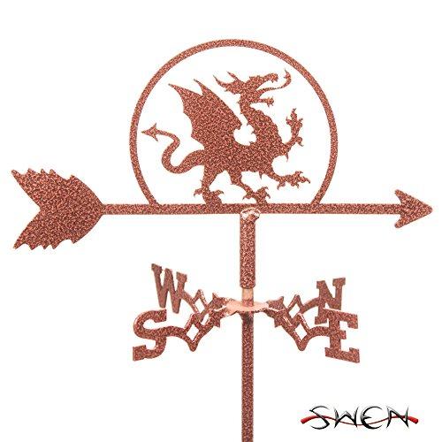SWEN Products Dragon Mini Flower Pot Weathervane (Weathervane Stake)
