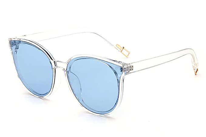 16be3fdbeeb GAMT Round Cat Eye Designer Women Sunglasses Oversized Clear Lens Blue Lens