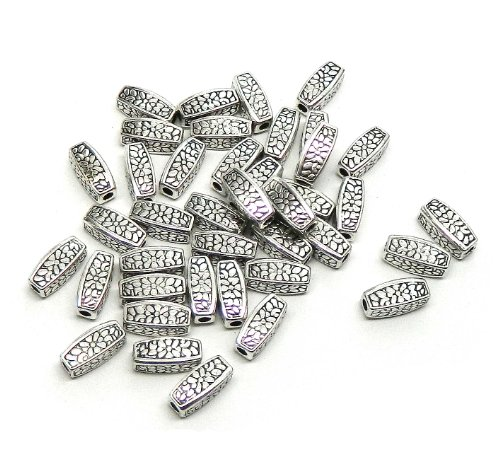 Rockin Beads 75 Antique Silver Plated Zinc Tube Squared Spacer Beads 4.5x12mm
