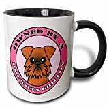 3dRose Janna Salak Designs Dogs - Owned By a Brussels Griffon Dog Brown Coat - Pink - 11oz Two-Tone Black Mug (mug_57154_4)