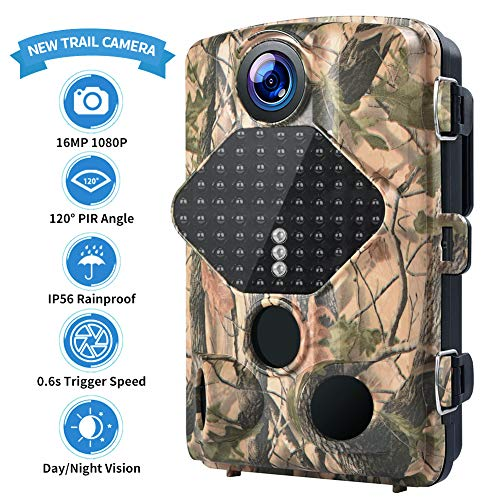 Trail Camera 16MP 1080P Hunting Camera with 2.4 inch LCD IP56 Waterproof 49 Infrared LEDs Night Vision Range 25 Yards 120°Wide Angle Lens Game Camera 0.2s-0.6s Triggering Time Wildlife Camera