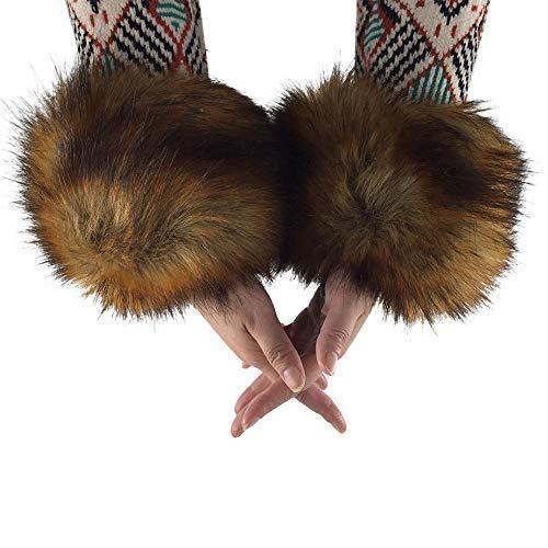 Faux Fox Fur Wrist Band Warm Arm Warmer Fluffy Wrist Warmer Cuffs Brown