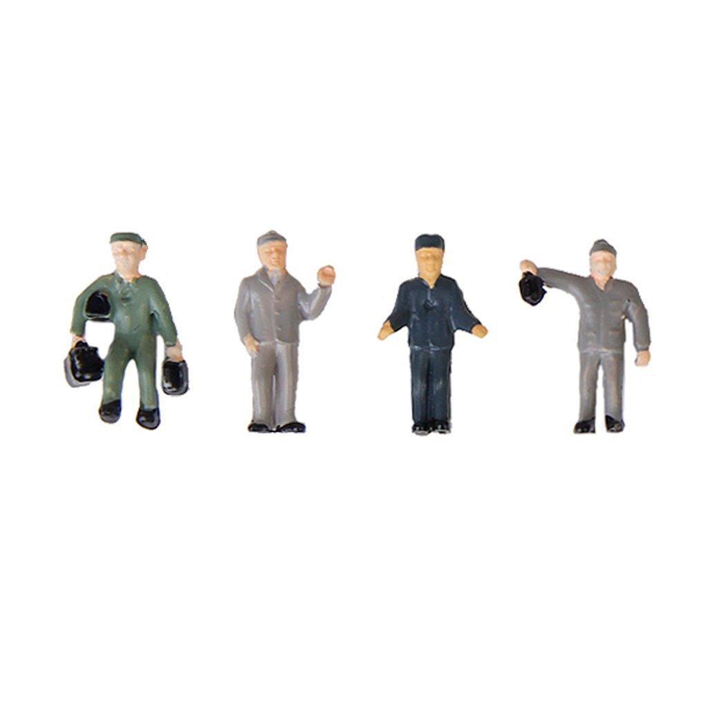SODIAL 25pzs 1:87 Figurilla Figuras pintadas Miniaturas de Trabajadores ferroviarios con Cubo y Escalera