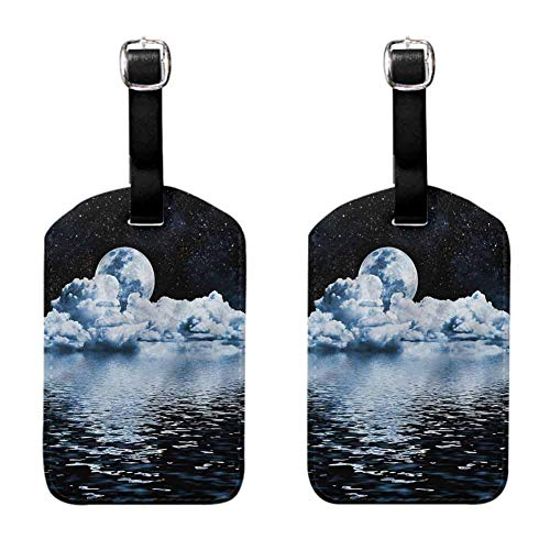 Moon Small luggage tag Moon Sets over the Clouds 2 PCS Soft to the touch Hanging on the suitcase
