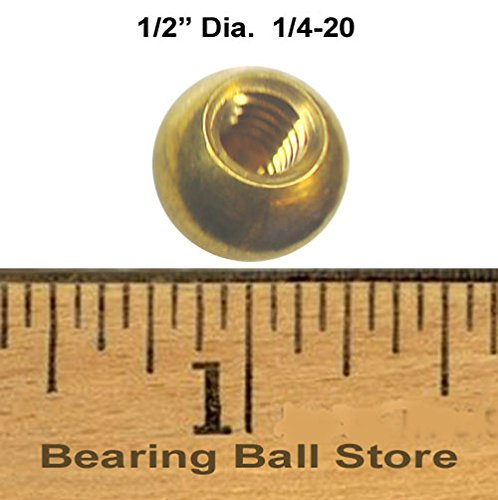 Ten 1/2'' dia. threaded 1/4-20 brass balls drilled tapped lamp finials by Bearing Ball Store (Image #1)