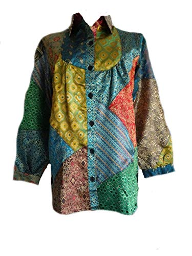 - Sacred Threads Satin Button Front Funky Bib Patched Big Top Shirt Tunic Small