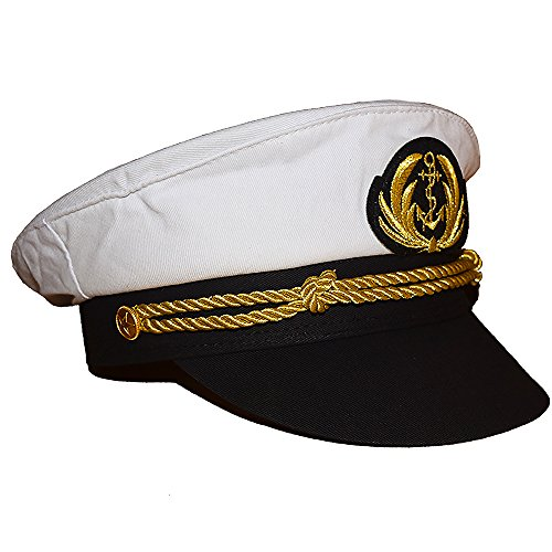 Chiclinco Admiral Captain Yacht Hat with Adjustable Snapback & Gold Embroidery Anchor Skippers Cap for Club Pub Party Costume Accessory (White) -