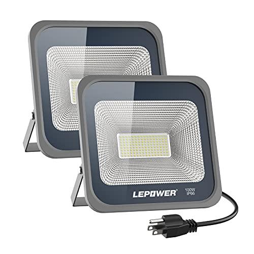 LEPOWER 50W LED Flood Light Outdoor Super Bright Work Light Plug in 250W Halog