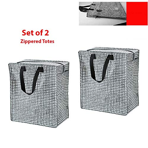 Set of 2 (Black/White) Shopping Bag Zippered Grocery Tote Gifts Reusable Tkmini9 from Unknown