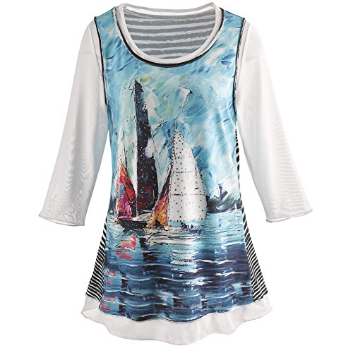 CATALOG CLASSICS Women's Tunic Top - Sailboat Dreams 3/4 Length Sleeve Blouse - 3X