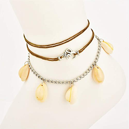 Layered Chain Bead Shell Anklets Summer Beach Handmade Anklets for Women Girls