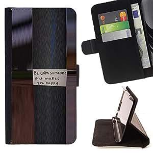 BullDog Case - FOR/HTC DESIRE 816 / - / pole metal message text happy love /- Monedero de cuero de la PU Llevar cubierta de la caja con el ID Credit Card Slots Flip funda de cuer