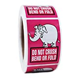 Pink Elephant ''Do Not Crush Bend or Fold'' Stickers - 3'' by 2'' - 500ct